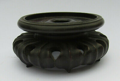 19th C Chinese Flared Leaf Design Base Two Tier Hardwood Vase Stand, 1 Of Many