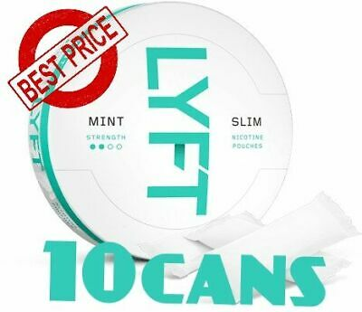 10 Cans! LYFT Mint Slim Strong Snus ALL White Nicotine New Without tobacco