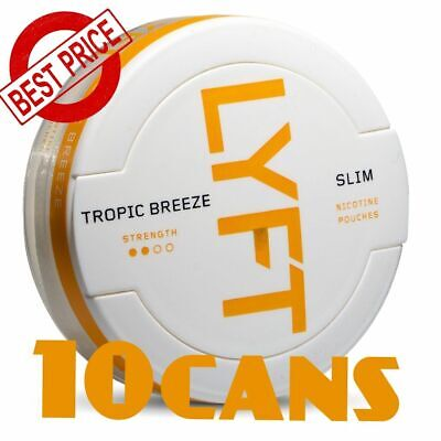 10 Cans! LYFT Tropic Breeze Slim Snus ALL White Nicotine New Without tobacco