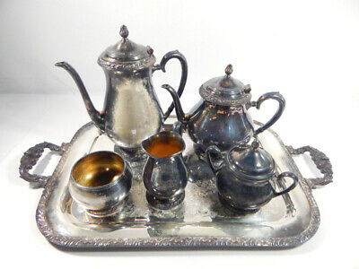 Henley Oneida Community Silver Plate 5-Piece Tea Coffee Set ~ Tarnished