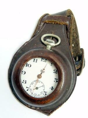 Antique WWI ERA LEATHER WRISTLET w/ RUNNING NICKEL POCKET / FOB / TRENCH / WATCH
