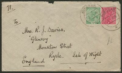 India Used Burma 1919 KGV 1a, ½a Used Cover with AUNGBAN Postmark Proud Unlisted