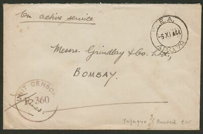 East African APO No 79 1944 Unstamped OAS Cover Yazagyo, Burma - UK w Censor