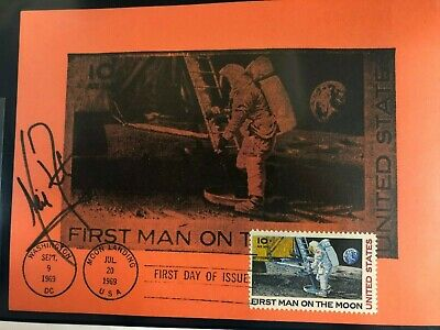 First Man on the Moon FDC Autographed by Astronaut Neil Armstrong. Sept. 9, 1969