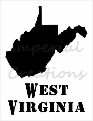 """WEST VIRGINIA"" State Shape USA Word 8.5"" x 11"" Stencil Plastic Sheet NEW S492"