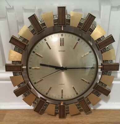 Vintage Retro Mid Century 60s Metamec Sunburst Clock Funky Surround Working