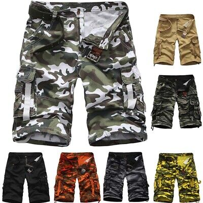 Cotton Workout Fitness Men Shorts Loose Army Pocket Summer Gym Pants Camping