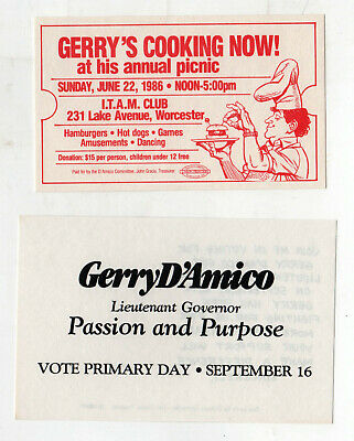 1986 GERRY D'AMICO Lt Governor MASSACHUSETTS Political Postcard TICKET Boston MA