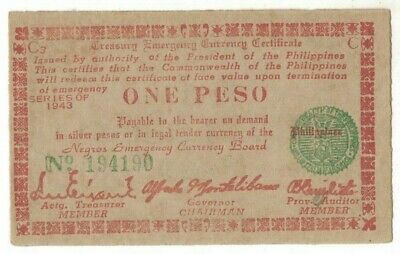 1943 Philippines 1 Peso emergency issue EF