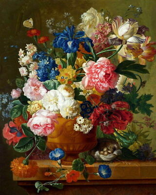"Art Giclee Print Flower Classical Oil painting Printed on Canvas 16X20"" P053"