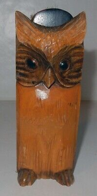 Vintage Hand Carved Wooden German Brush in Owl Motif Holder Germany