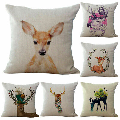 Waist Cover Gift Elk Deer Xmas Cotton Sofa Cushion Case Linen Home Decor Pillow