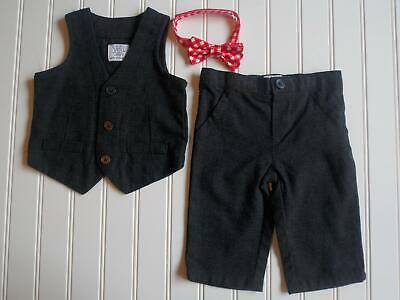 NWOT Just One You Carters Baby Boys 3 Month Gray Dress 3pc Suit Vest Pants & Tie