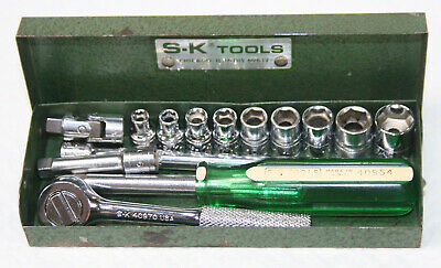 "SK 1/4"" Drive Ratchet Socket Set with Case Extensions Universal S-K USA"