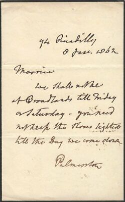 *Queen Victoria:  Viscount Palmerston 1862 Autograph Letter As Prime Minister*