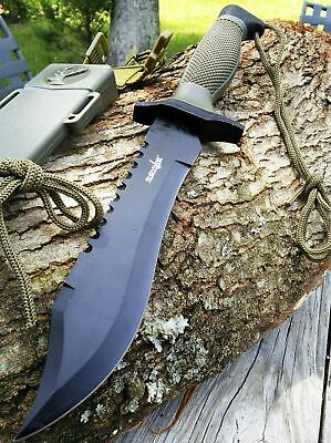 """12"""" COMBAT TACTICAL SURVIVAL HUNTING KNIFE w/ SHEATH MILITARY Bowie Fixed Blade"""
