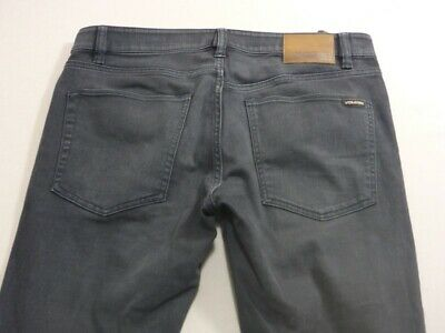 079 Mens Ex-Cond Volcom Skinny Tapered Char Wash Stretch Jeans Sze 34 $120 Rrp.