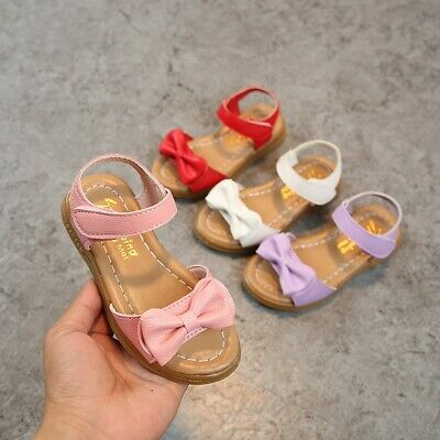 Toddler Infant Kids Baby Girls Children Bowknot Princess Casual Shoes Sandals AU