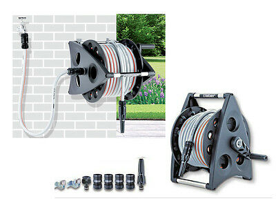 30 metre Garden Hose Pipe & Reel - Hosepipe and Cart - Claber Wall Mounted Reel