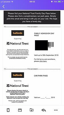National Trust Family Day Pass Including Parking Worth UpTo £50 (expires 30Sep)