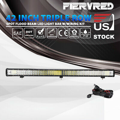 42 inch LED Light Bar Triple Row Spot Flood Offroad Driving Lights w/ Wiring Kit