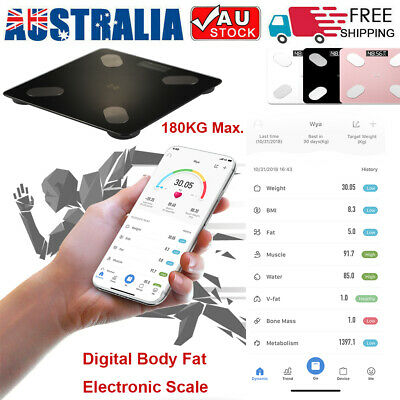 180KG Gym Weight Scale Electronic Digital Backlit Glass Body Bathroom Scale D4F9