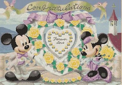 Cross stitch chart - mickey mouse & minnie's wedding 7a- flowerpower37-uk