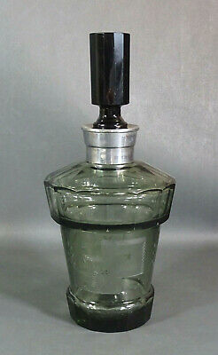 Art Deco Bohemian Moser Smoky Olive Cut Crystal Glass Liquor Decanter Bottle