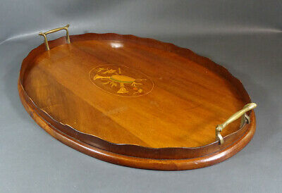 "22""Large Antique Italian Marquetry Inlay Wood Wooden Serving Tray Bronze Handles"