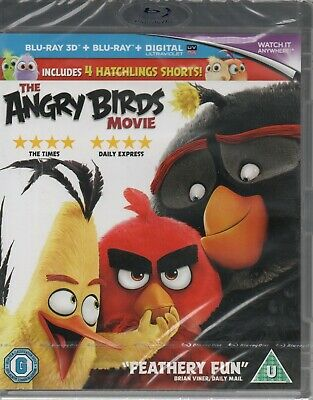 THE ANGRY BIRDS MOVIE (3D + 2D) - With 4 Short Films - Blu-Ray *NEW & SEALED*