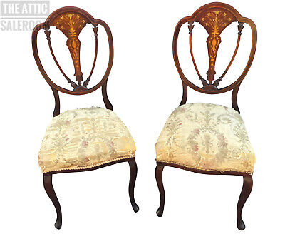 Wonderful Matching Pair of Antique Edwardian Inlaid Chairs, Balloon, Dining Hall