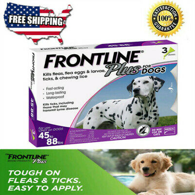 FRONTLINE Plus for Dogs Large Dog (45-88 lbs) Flea and Tick Treatment, 3 Doses