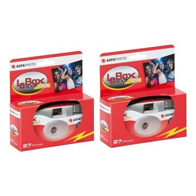 2x AGFA Le Box Disposable Single Use Flash Camera with 400ASA 27 Exposure Film