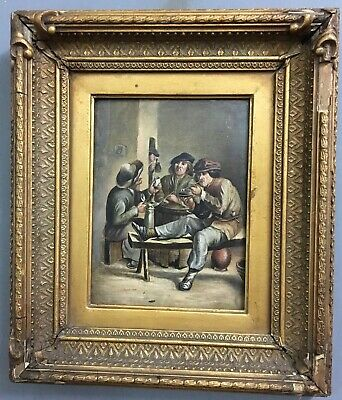 Antique Victorian 19th Century Oil On Board Painting In Gold Gilt Frame