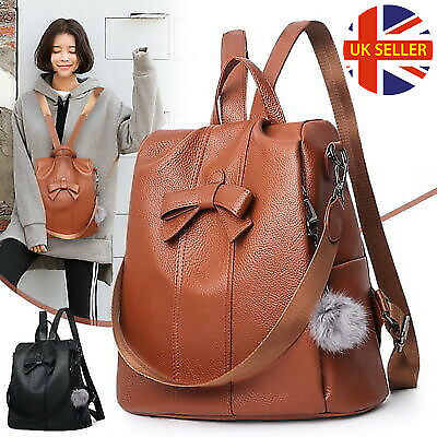 Women PU Leather Soft Bag With Fluffy Ball Satche Travel Shoulder Backpack POW
