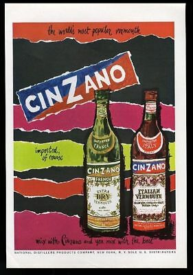 1963 Cinzano French and Italian Vermouth bottle art vintage print ad
