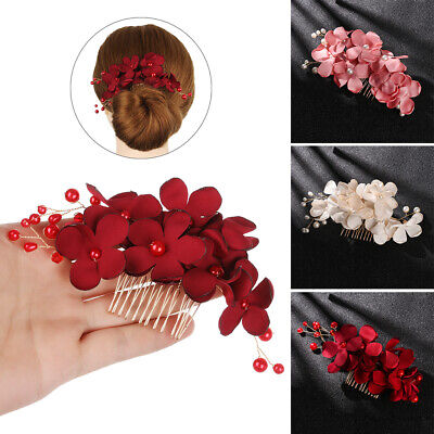 Red/Pink/Champagne Flower Hair Pin  Bridesmaid Tiara Bridal Clips Hair Combs