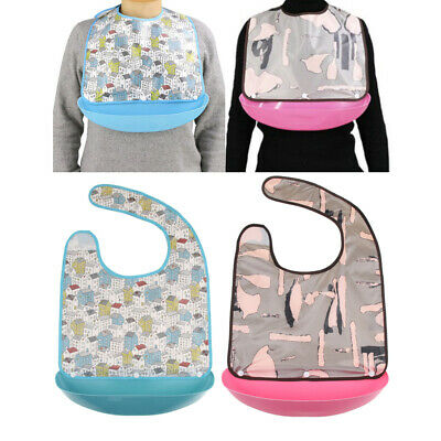 2x Washable Adult Elder Mealtime Bib Clothing Protector Dining Aid Apron