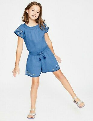 NEW RRP £30 Mini Boden Embroidered Woven Playsuit - Elizabethan Blue (U9-4)