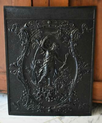 Fabulous Antique Victorian Era Cast Iron Fireplace Cover Goddess Diana Huntress