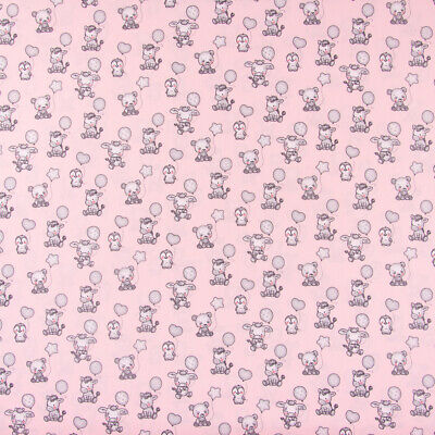 Cotton Fabric Baby Penguin Zebra Cow Panda with Balloon Pink Gray 1,5m Width