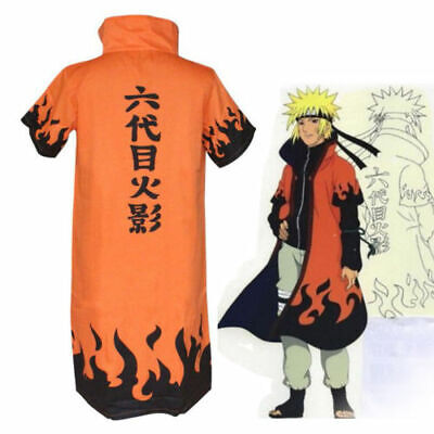 Naruto 6th Leaf Village Hokage Uzumaki Costume Cosplay Robe Cloak Cape XXL / 2XL