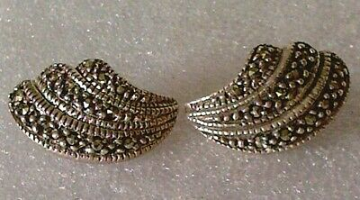 A pair of vintage Art Deco solid sterling silver 925 earrings with Marcasite