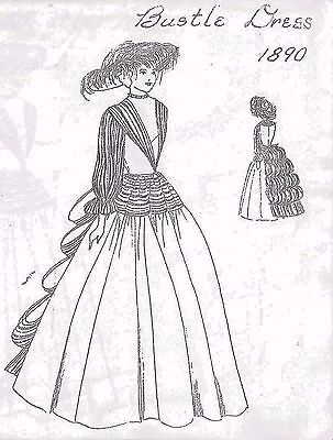 "32""Antique French/China Head/Parian Doll@1890 Cloth Body Bustle Dress Pattern"