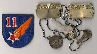 1940s USAAF 11th AF PBY Pilot's Dog Tags w Sterling St. Christopher Medal & Keys