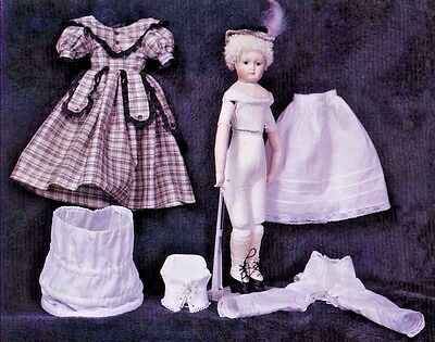 "16""-17""French Fashion Lady Leontine Doll Dress/Hat/Hoop Skirt/Underwear Pattern"