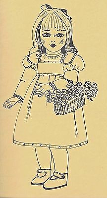 "26""Antique French Jumeau-German Doll High/Empire-Waist Yoke Insert Dress Pattern"