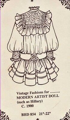 "21-22""Antique/Modern Artist Hillary Doll Square Yoke Dress Sash Dress Pattern"