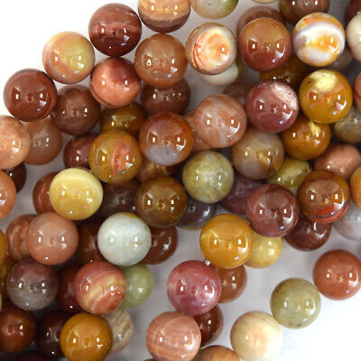"""Natural Gold Brown Agate Round Beads Gemstone 15"""" Strand 4mm 6mm 8mm 10mm 12mm"""