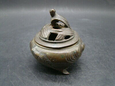 Japanese 1920's nice small bronze censer and cover  u8663